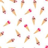 Icecream cones on white watercolor seamless vector print. Colorful icecream cones on white watercolor seamless vector print Stock Images