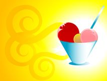 Icecream in cup. Ice cream in cup on swirly gradient background Royalty Free Stock Photo