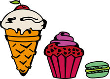 Icecream, cupcake, makaroni set Royalty Free Stock Photo