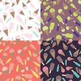 Icecream flat set. Icecream set. Seamless cute and flat pattern Stock Photo
