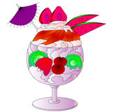 The Icecream, fruits and cream in goblet Royalty Free Stock Photo