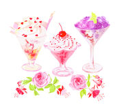Icecream glasses and flowers watercolor vector design objects Royalty Free Stock Images