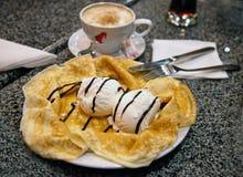 Icecream on pancake Royalty Free Stock Photography