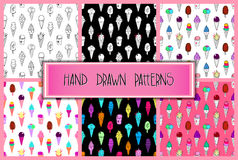IceCream Patterns Set. Collection of 6 seamless hand-drawn ice-cream patterns, doodle ice-cream backgrounds set, EPS 10 Stock Image