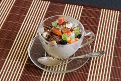 Icecream with raisins, chocolate and dry fruits Royalty Free Stock Photography