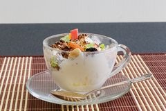 Icecream with raisins, chocolate and dry fruits Stock Images