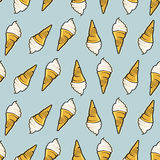 Icecream seamless pattern. Hand drawn retro style. Royalty Free Stock Images