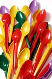 Icecream spoon. Lot of colorful plastic spoons Royalty Free Stock Image