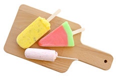Icecream stick on wooden plate isolate on white (clipping path) Stock Photography