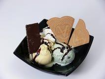 Icecream sundae. A mint and vanilla icecream sundae royalty free stock photography