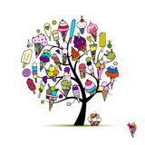 Icecream tree, sketch for your design Royalty Free Stock Photos