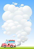 An icecream truck releasing a smoke. Illustration of an icecream truck releasing a smoke Royalty Free Stock Image