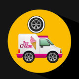 Icecream truck and wheel icon design Stock Photos
