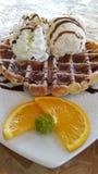 Icecream with waffle Stock Photo