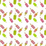 Icecream watercolor set, patern on white background. Fruit icecream with quiwi, berries. Hand drawn illustration. Food desighn,. Summer, print fashion design royalty free illustration