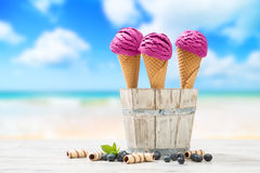 Icecreams At The Beach Royalty Free Stock Photography