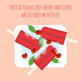 Icecreams popsicles with cherry, mint leaves and ice cubes Royalty Free Stock Image