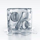 Icecube con símbolo del porcentaje adentro Foto de archivo libre de regalías