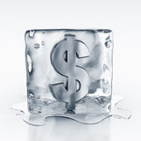 Icecube with dollar symbol inside Royalty Free Stock Images