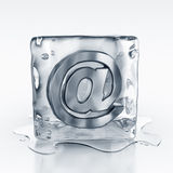 Icecube with email symbol inside Stock Photo