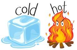 Icecube frío y fuego caliente ilustración del vector