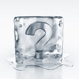 Icecube with question mark symbol inside Stock Photo