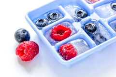 Icecubes with icetray and berries on white table background Stock Images
