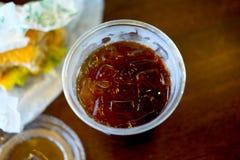 Iced americano with hamburger Stock Photos