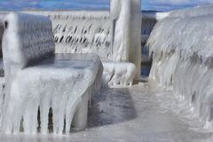 Iced bank in Mecklenburg-Vorpommern, north of Germany stock photography