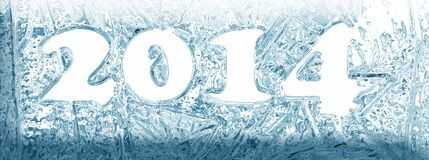 Iced banner 2014. Happy new year 2014 card with iced effect vector illustration