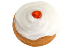 Iced Belgian Breakfast Bun Topped with a cherry Stock Image