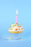 Iced birthday cupcake with with lit candle Royalty Free Stock Photo