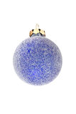 Iced blue ball. Christmas ornament on a white background Royalty Free Stock Images