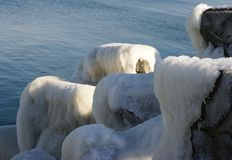 Iced breakwaters. At the Black Sea Stock Photo