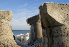 Iced breakwaters. At the Black Sea Stock Image