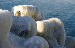 Iced breakwaters. At the Black Sea Stock Photos