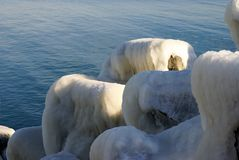 Iced breakwaters. At the Black Sea Royalty Free Stock Images