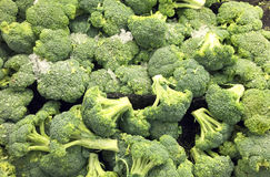 Iced Broccoli in a grocery produce section Royalty Free Stock Images