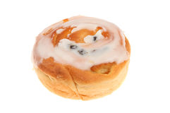 Iced bun. Isolated against white royalty free stock image
