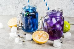 Iced butterfly pea flower tea. Healthy summer cold beverage, iced organic blue and violet butterfly pea flower tea with limes and lemons, grey concrete royalty free stock images