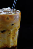 Iced cappuccino with caramel Stock Images
