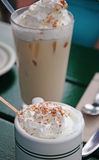 Iced Cappucino and Hot Chocolate Stock Photos