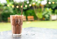 Iced chocolate milkshake. On table in restaurant and cafe royalty free stock photography