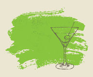 Iced cocktail on green grunge background Stock Photos
