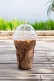 Iced coco or chocolate in plastic cup Royalty Free Stock Images