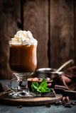 Iced cocoa drink with whipped cream, cold chocolate beverage, coffee frappe Royalty Free Stock Image