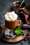 Iced cocoa drink with whipped cream, cold chocolate beverage, coffee frappe Stock Photo