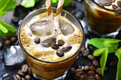 Iced coffee on black background. Royalty Free Stock Photography