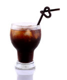 Iced coffee with black straws love on white background Royalty Free Stock Images