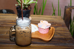 Iced coffee with blueberry cheese cake Royalty Free Stock Image
